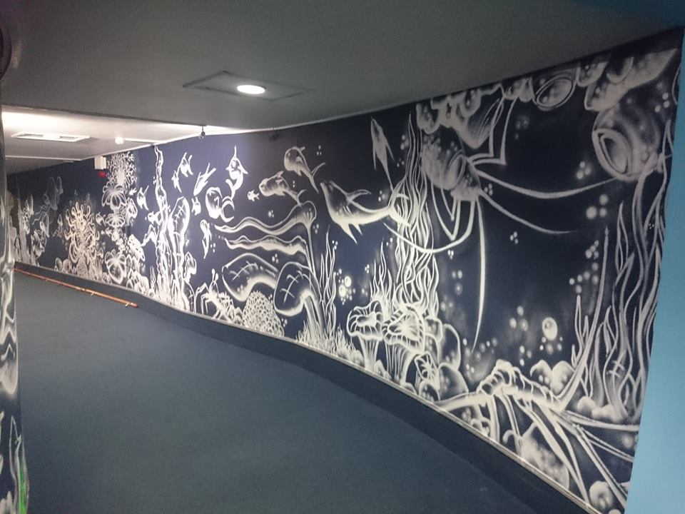 neon corridor black white